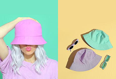 Bucket Hat in drei verschiedenen Farben