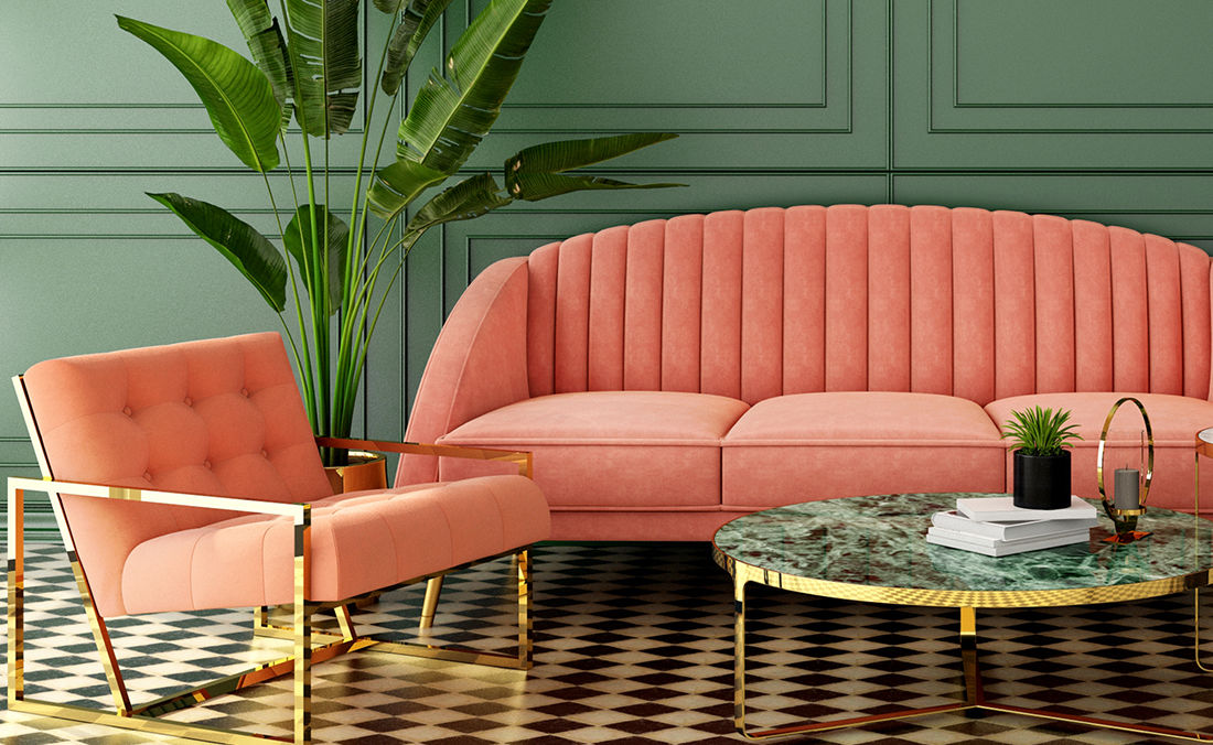 Farbtrends Living Coral Sofa und Sessel