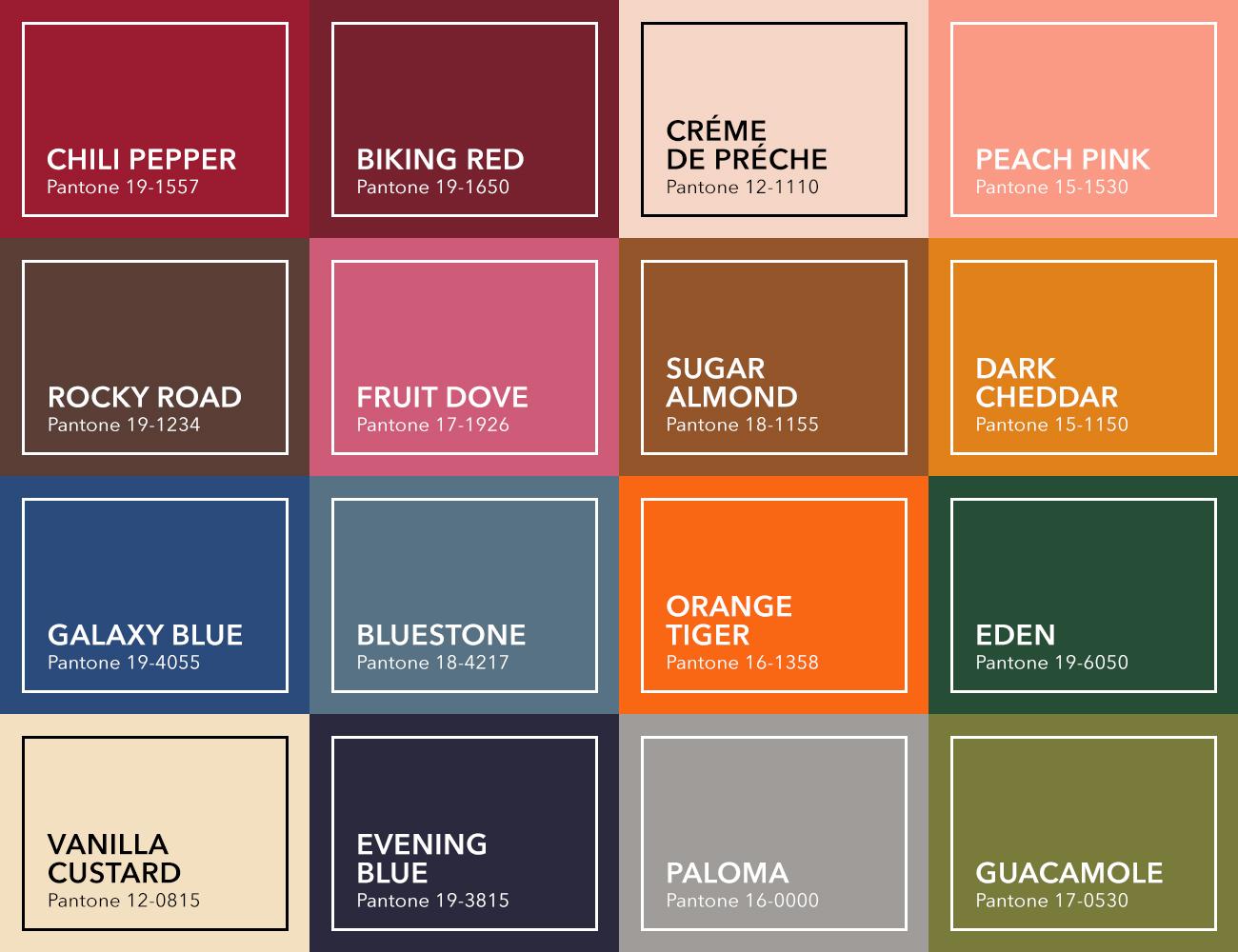 Übersicht mit Farbflächen der Trendfarben Herbst/Winter 2019/2020
