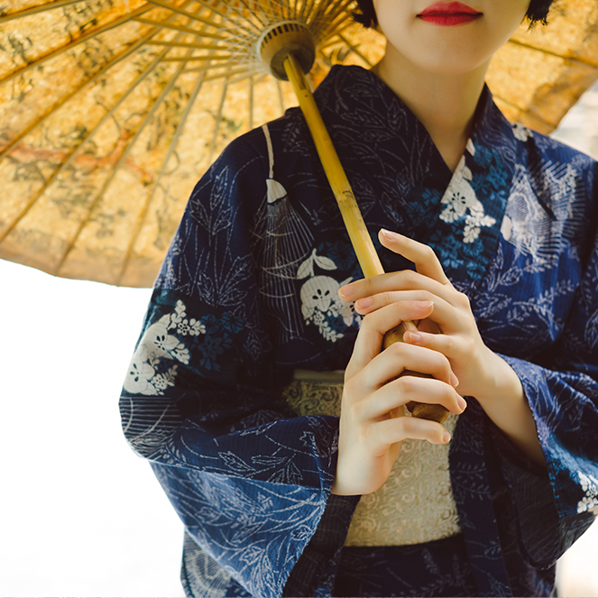 Woman wearing a traditional japanese kimono