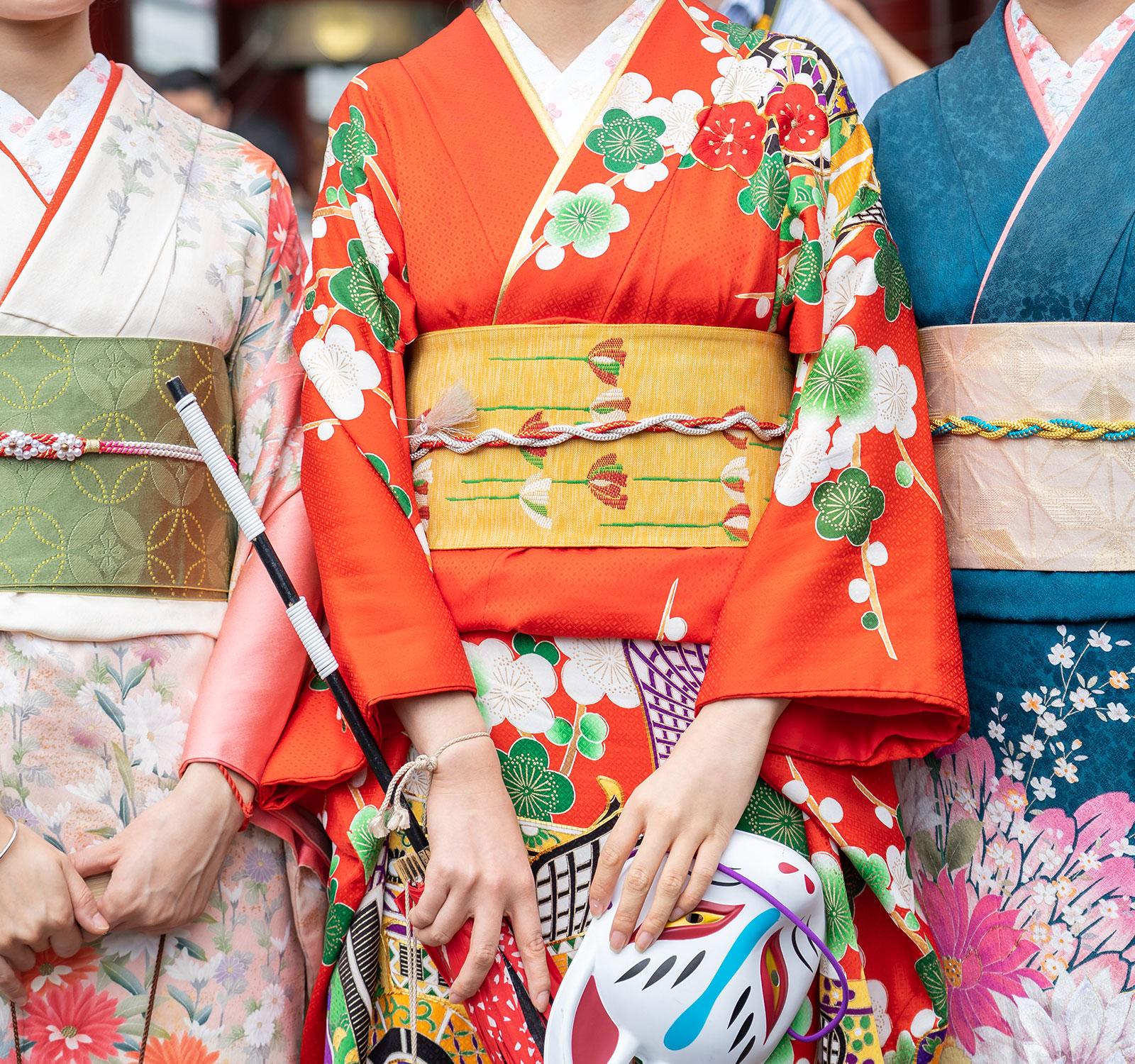 Women wearing traditional kimonos