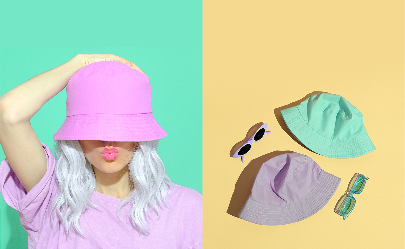 Bucket hat in three different colors