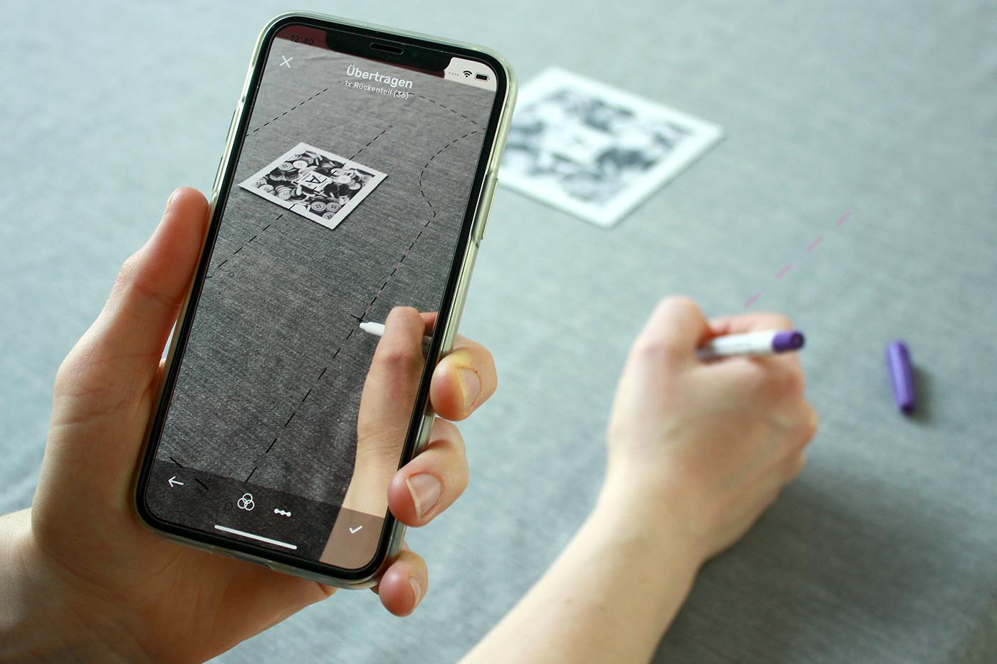 Pattarina App im Einsatz – Schnittmuster mit Augmented Reality übertragen